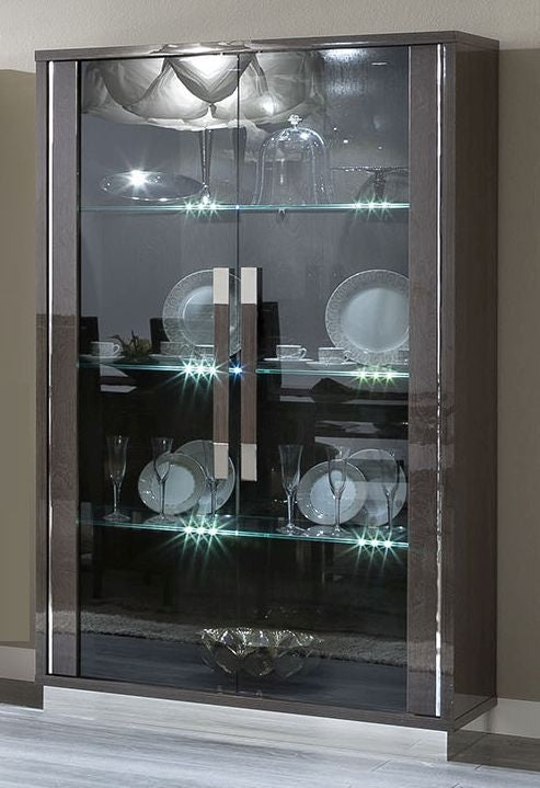 Platinum Day Slim Italian Glass Cabinet - 2 Door With LED Lights