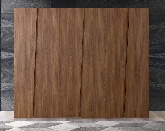 Storm Walnut Finish Italian 6 Door Wardrobe