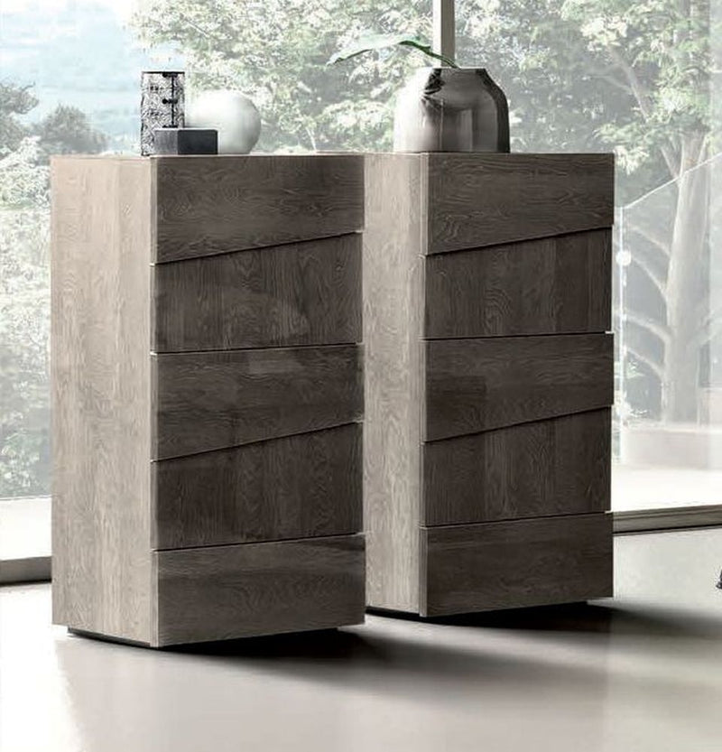 Camel Tekno Night Silver Birch High Gloss 5 Drawer Tallboy Chest - ImagineX Furniture & Interiors