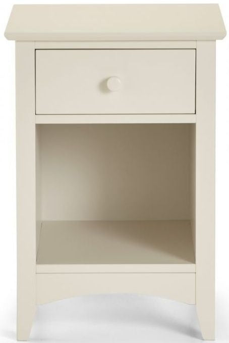 Julian Bowen Cameo Off White 1 Drawer Bedside Cabinet - ImagineX Furniture & Interiors
