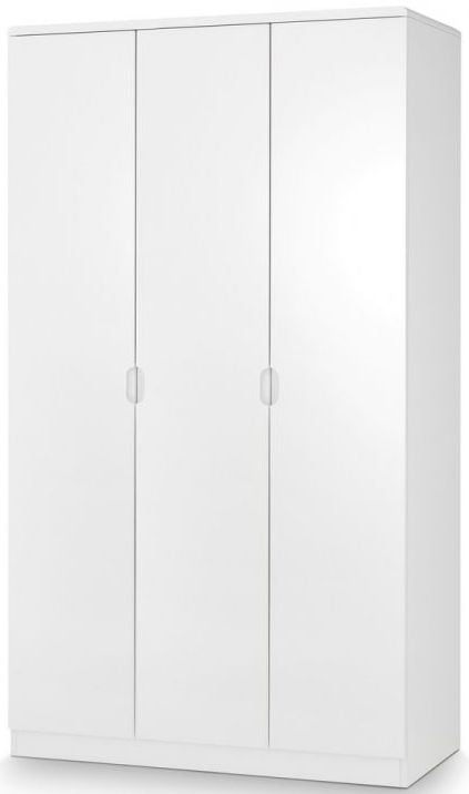 Julian Bowen Manhattan White High Gloss 3 Door Triple Wardrobe - ImagineX Furniture & Interiors