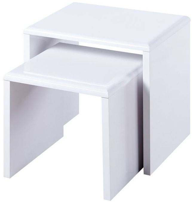 Julian Bowen Manhattan White High Gloss Nest of Tables - ImagineX Furniture & Interiors