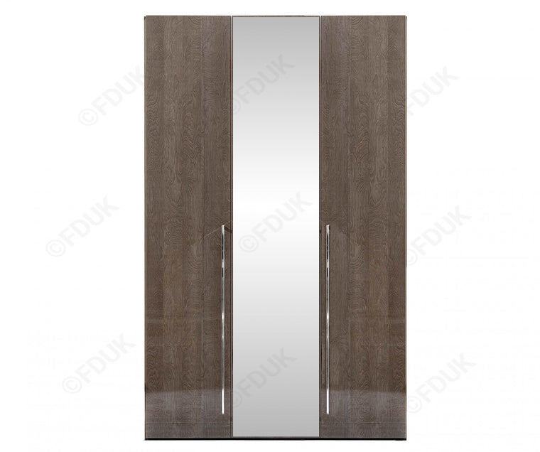 Platinum Night High Gloss 3 Door Mirror Wardrobe