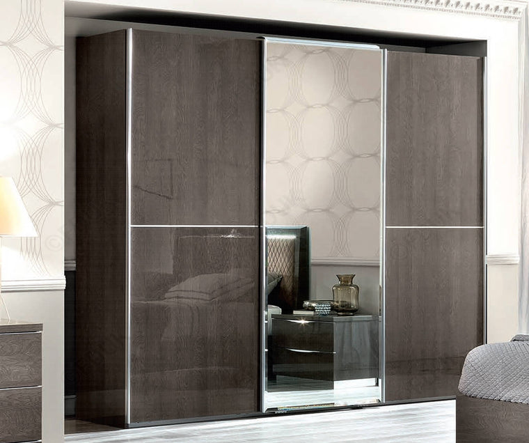 Platinum Night High Gloss 3/D Sliding Door Mirror Wardrobe