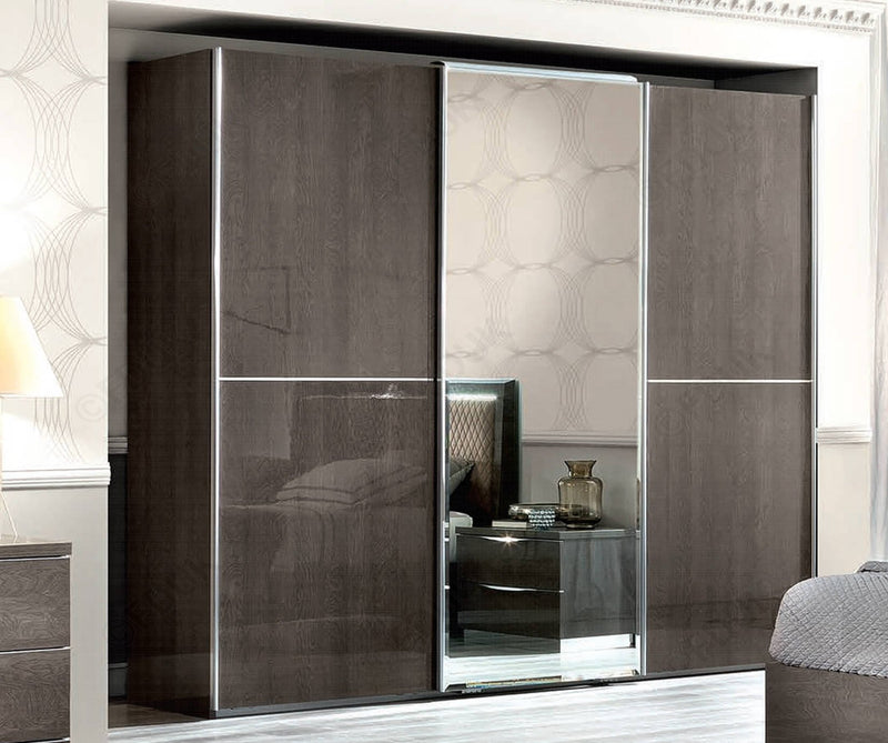Maia Silver Birch High Gloss Sliding Wardrobe in Various Sizes - ImagineX Furniture & Interiors