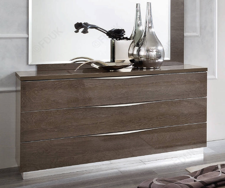 Platinum Night 135cm 3 Drawer High Gloss Single Dresser