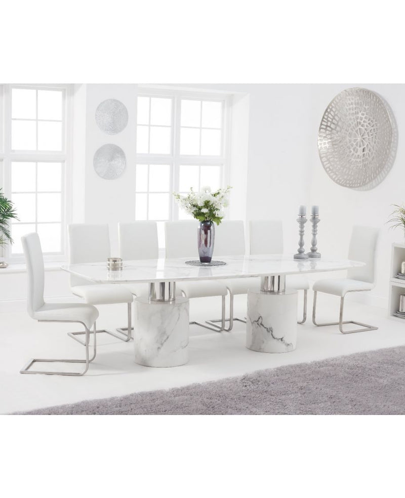 Adeline 260cm White Marble Dining Table - ImagineX Furniture & Interiors