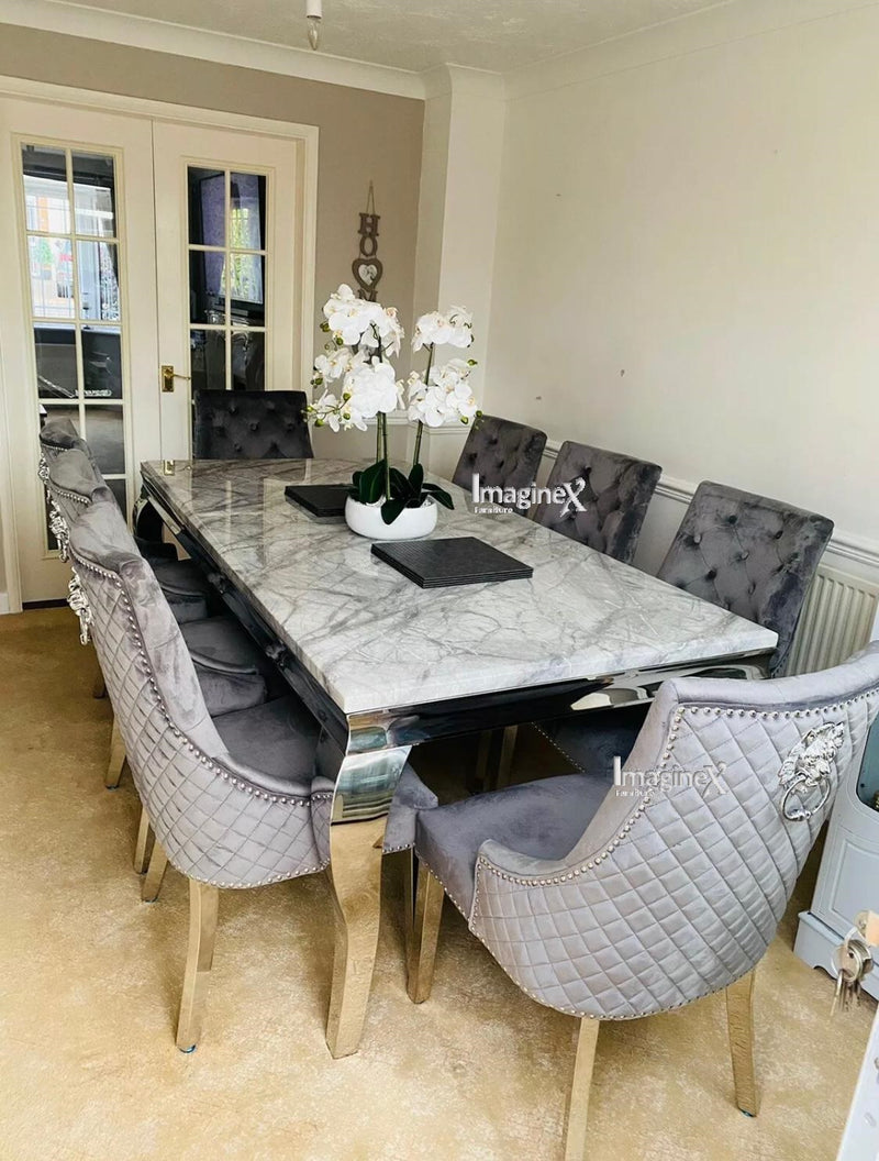 Louis 150cm Grey Marble Dining Table + Grey Lion Knocker Plush Velvet Chairs
