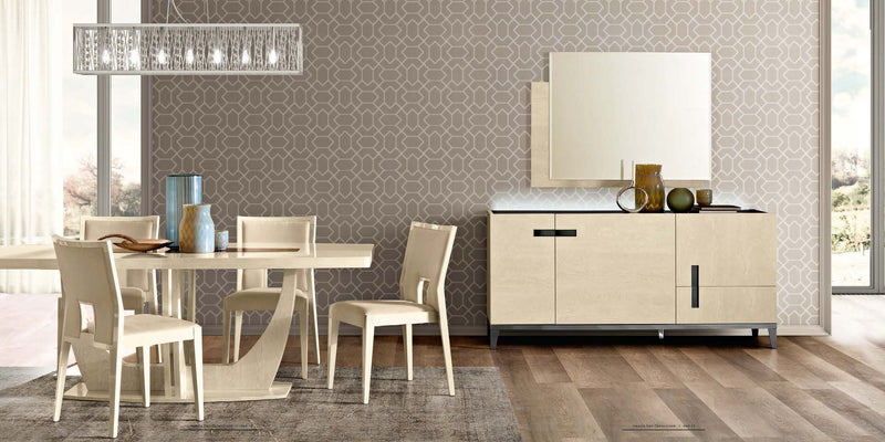 Ambra Sand Birch Finish Italian 3 Wooden Door Buffet - ImagineX Furniture & Interiors