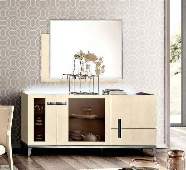 Ambra Sand Birch Finish Italian 3 Glass Door Buffet
