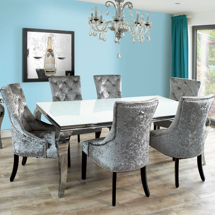 Louis 200cm White Glass Dining Table + Ava Crushed Velvet Chairs - ImagineX Furniture & Interiors
