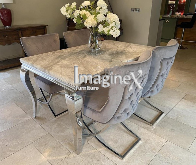 Louis 200cm Grey Marble Dining Table + Belgravia Light Grey Plush Velvet Button Dining Chairs