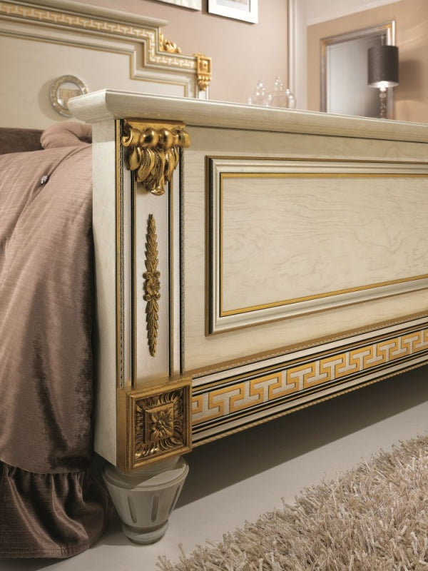 Liberty Ivory with Gold Italian Bed Frame - ImagineX Furniture & Interiors