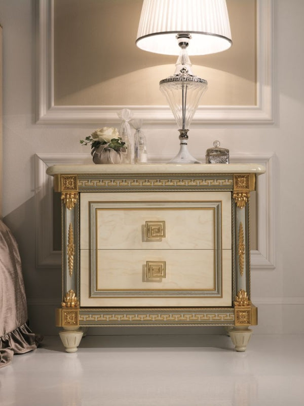 Liberty Ivory with Gold Italian Bedside Cabinet - ImagineX Furniture & Interiors