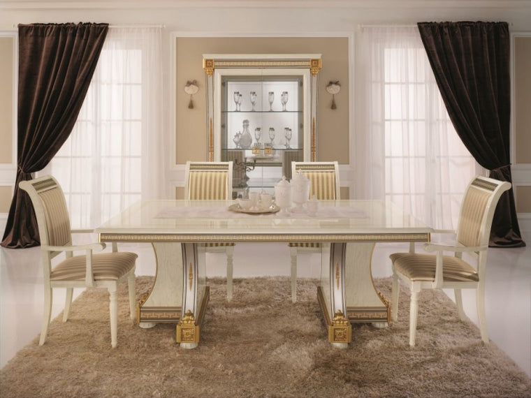 Liberty Ivory with Gold Italian Rectangular Extending Dining Table - 200cm-300cm