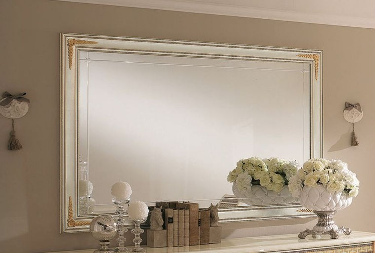 Liberty Ivory with Gold Italian Rectangular Large Mirror