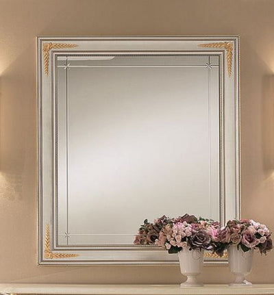 Liberty Ivory with Gold Italian Rectangular Small Mirror - ImagineX Furniture & Interiors