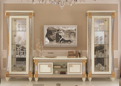 Liberty Ivory with Gold Italian 4 Door 7 Shelves TV Set Composition - ImagineX Furniture & Interiors