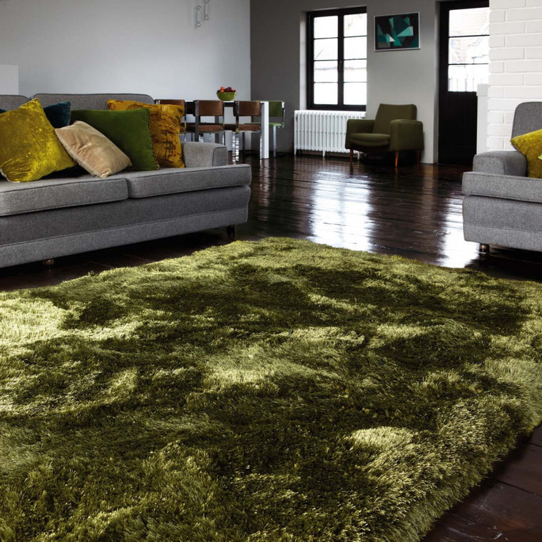 Plush Green Luxury Shaggy Polyester Rug by Asiatic