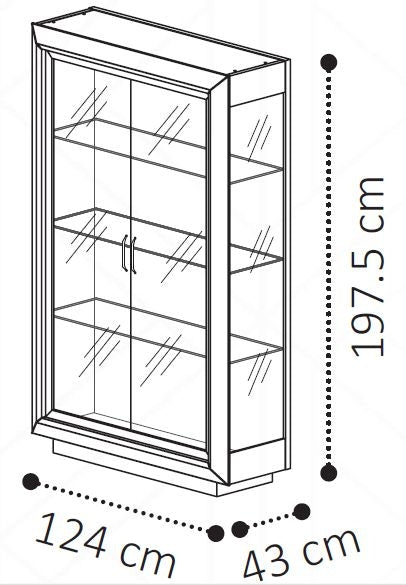 Camel Elite Day Italian 2 Door Vitrine Display Cabinet - ImagineX Furniture & Interiors