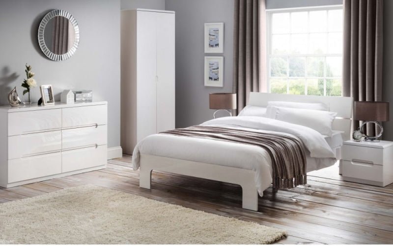 Julian Bowen Manhattan White High Gloss Bed - ImagineX Furniture & Interiors