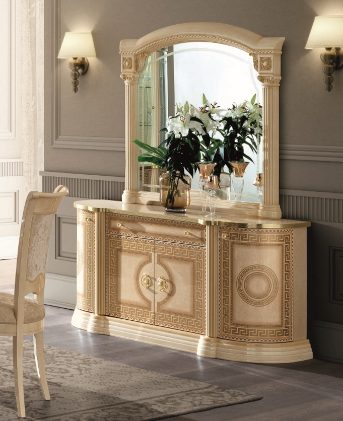 Aida Ivory and Gold Italian 4 Door Buffet - ImagineX Furniture & Interiors