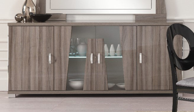 Glamour Grey Walnut 4 Door Sideboard with LED Light