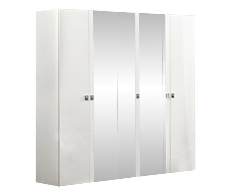 Onda White High Gloss Italian 5 Door Mirror Wardrobe - ImagineX Furniture & Interiors