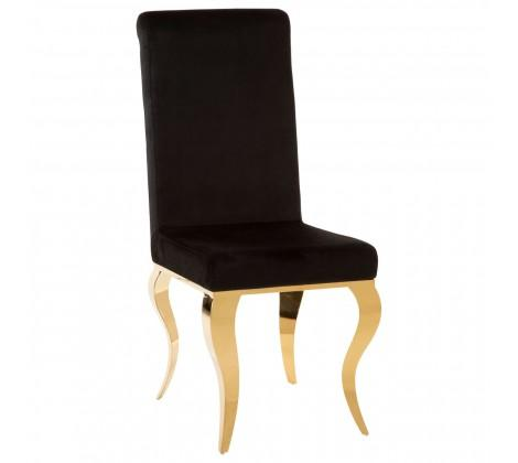 Eliza Louis Style Black Velvet Dining Chair with Gold Legs