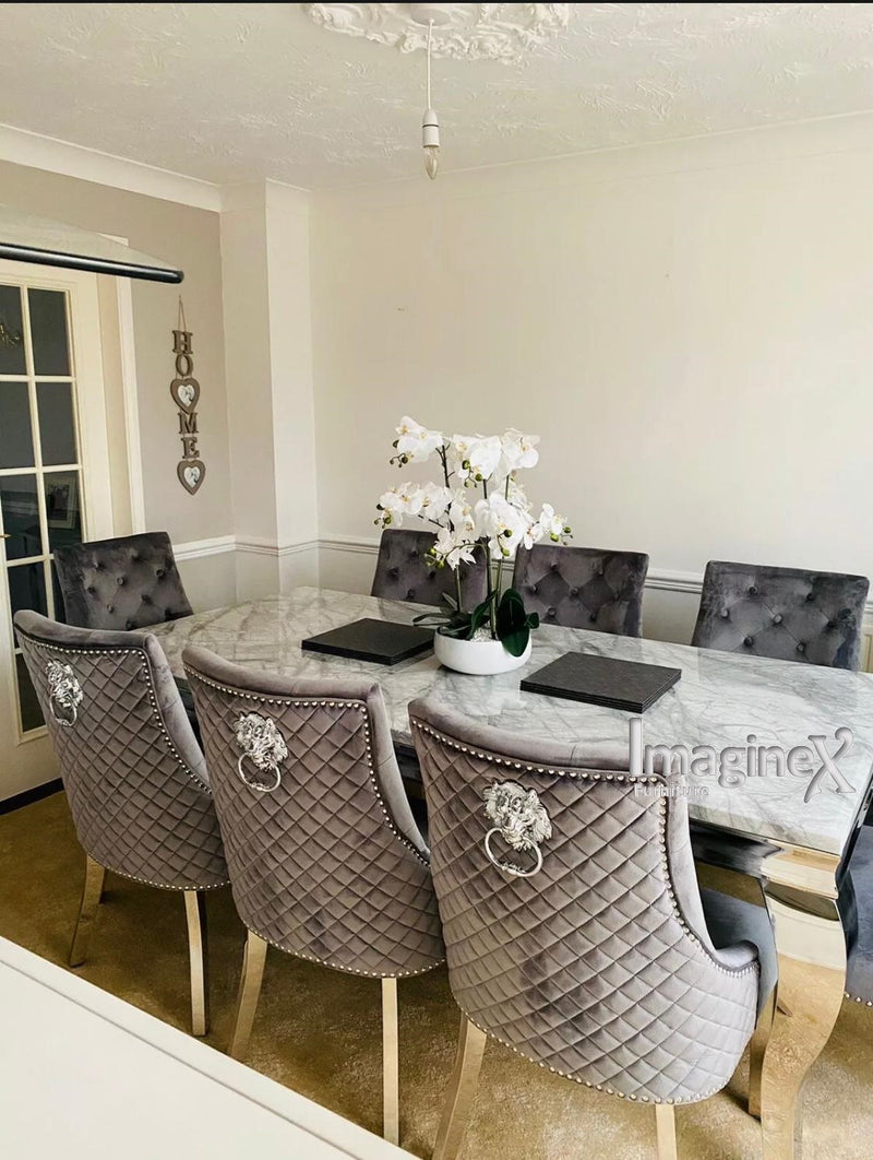 Louis 150cm Grey Marble Dining Table + Light Grey Lion Knocker Plush Velvet Chairs