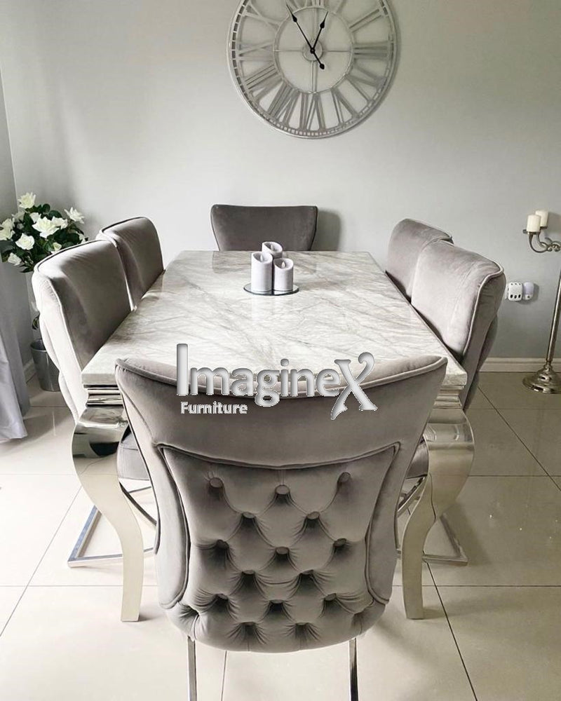 Louis 120cm Grey Marble Dining Table + Belgravia Dark Grey Plush Velvet Button Dining Chairs