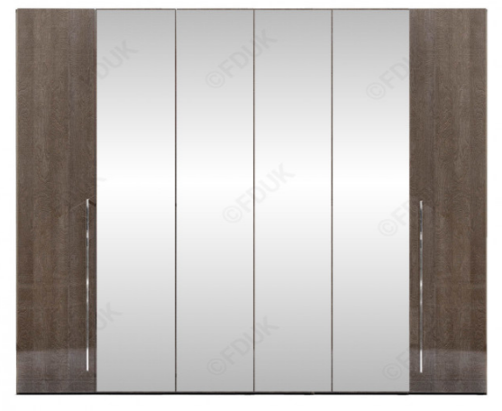 Platinum Night High Gloss 6 Door Mirror Wardrobe