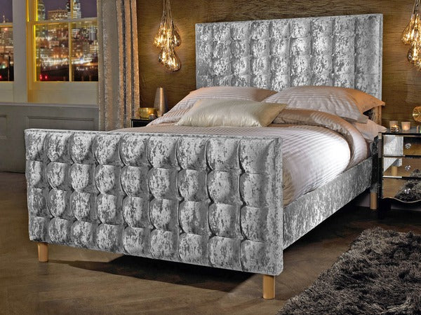 Designer Grande Double Crushed Velvet Glitz Fabric Bed Frame - ImagineX Furniture & Interiors