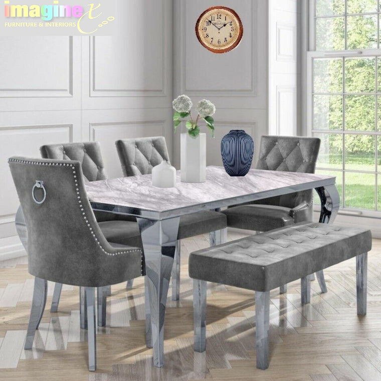 Louis 180cm Grey Marble Dining Table + 4 Dark Grey Velvet Chairs + 130cm Bench