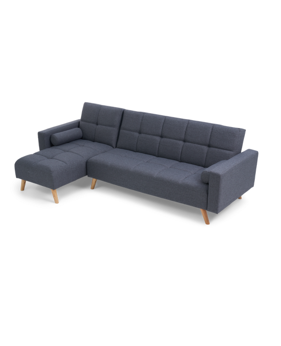 Abigail Grey Linen Left Hand Facing Chaise Sofa