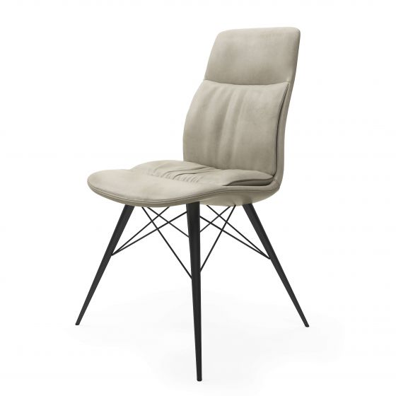 Alexa Beige Leather Dining Chair - ImagineX Furniture & Interiors