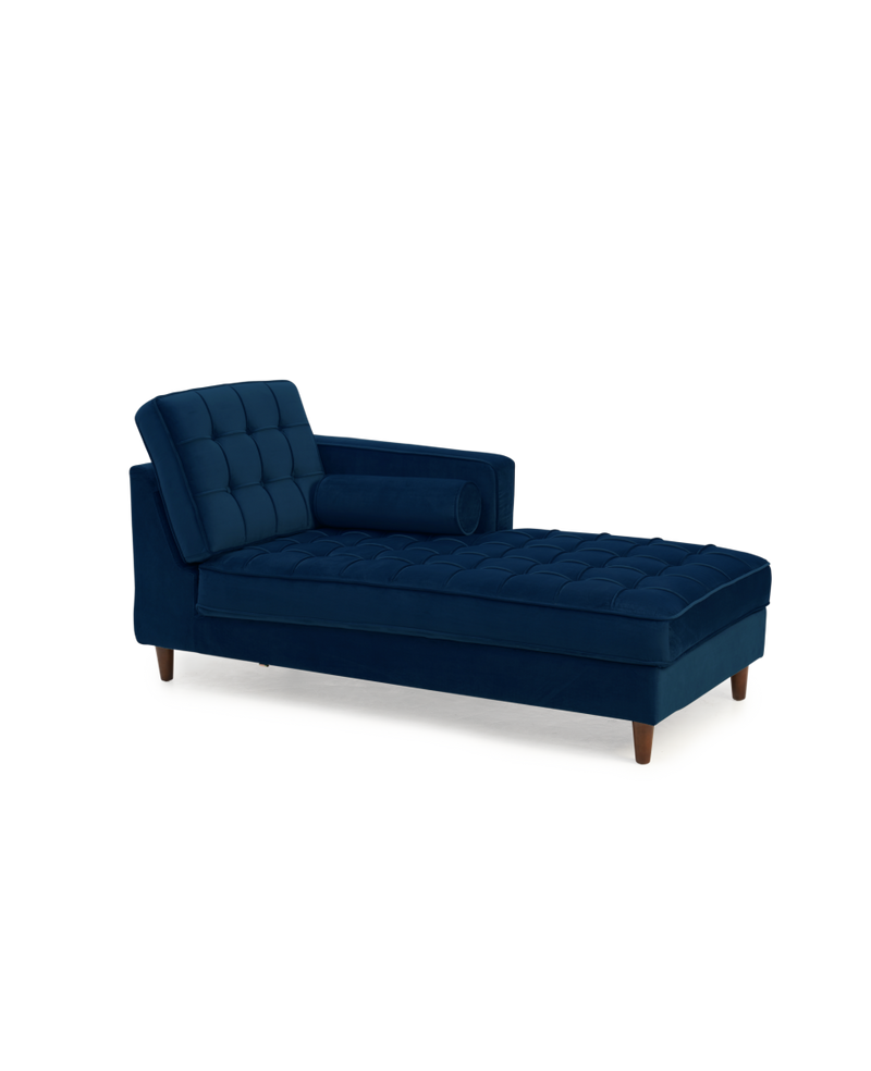 Anneliese Blue Velvet Right Facing Chaise Sofa - ImagineX Furniture & Interiors