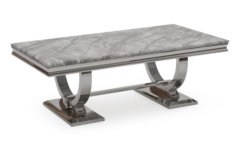 Arianna 130cm Grey Marble Coffee Table