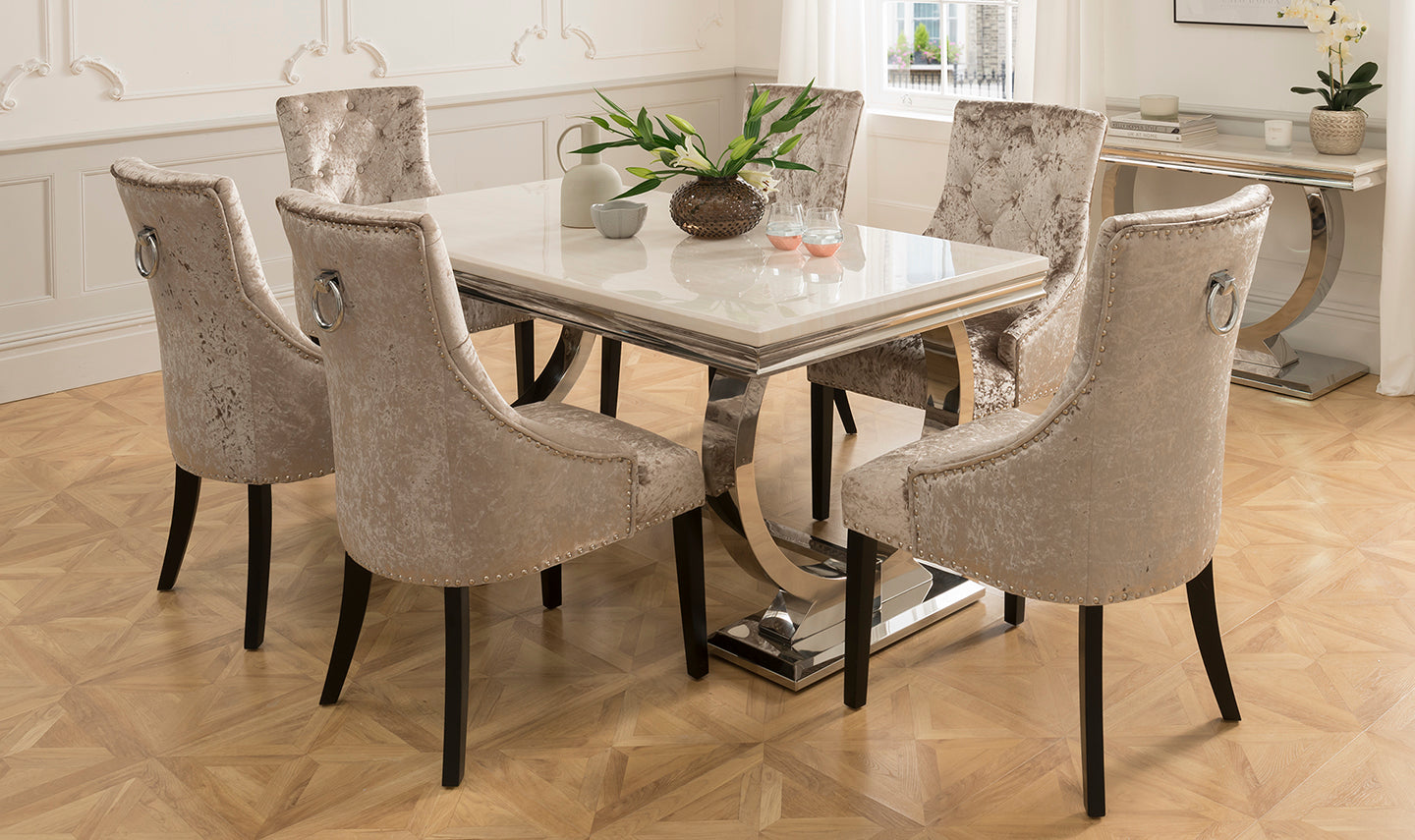 Arianna 180cm Cream Marble Dining Table 4 Ava Crushed Velvet Chairs