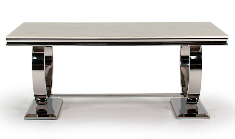 Arianna 200cm Cream Marble Dining Table Only