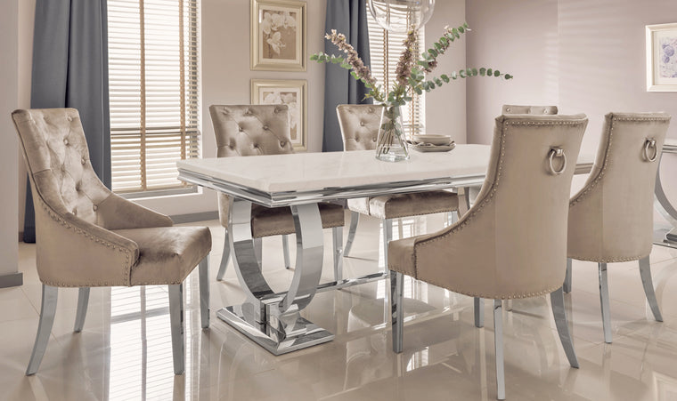 Arianna 180cm Cream Marble Dining Table + Belle Champagne Velvet Chairs
