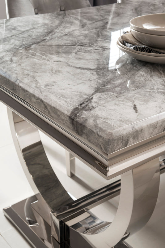 Arianna 180cm Grey Marble Dining Table + Ava Crushed Velvet Chairs