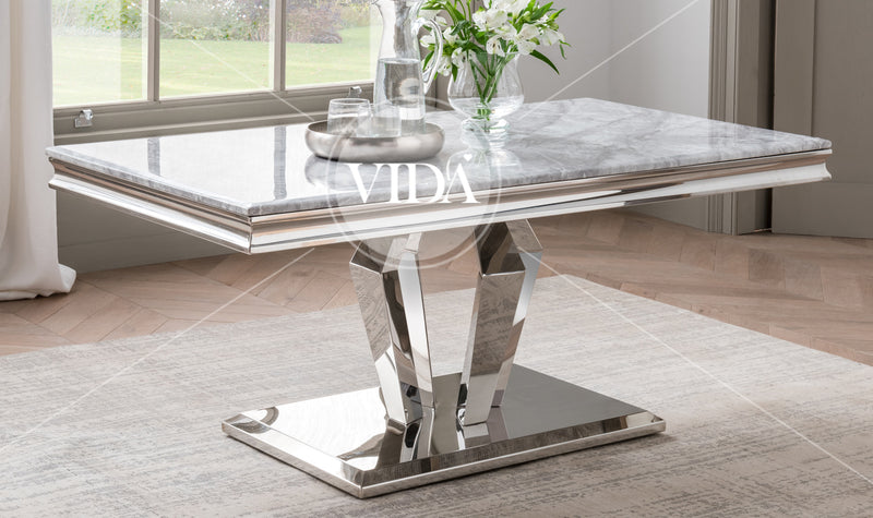 Arturo Grey Marble & Chrome Coffee Table - ImagineX Furniture & Interiors