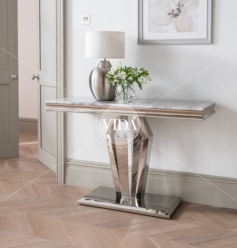 Arturo Grey Marble & Chrome Console Table - ImagineX Furniture & Interiors