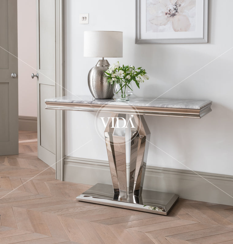 Arturo Grey Marble & Chrome Console Table