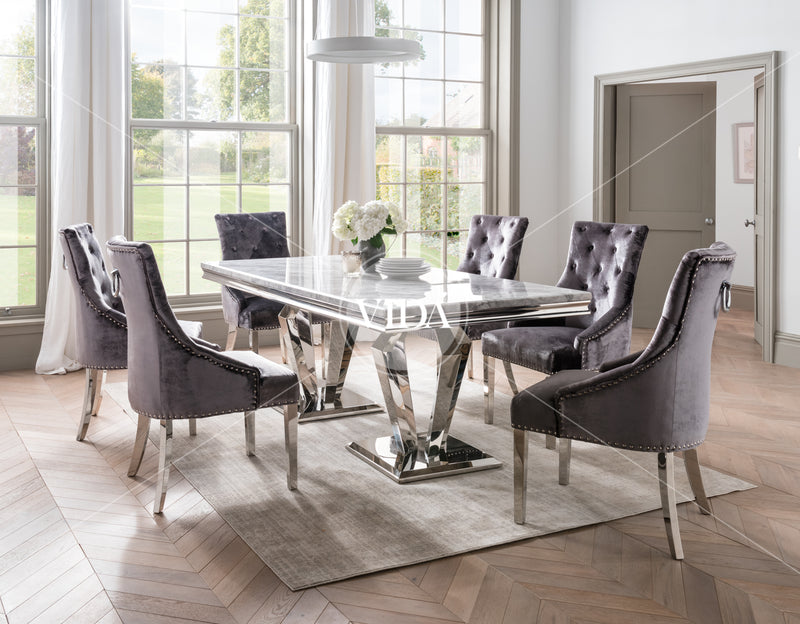 Arturo Grey Marble & Chrome 180cm Dining Table + Belle Plush Velvet Chairs - ImagineX Furniture & Interiors