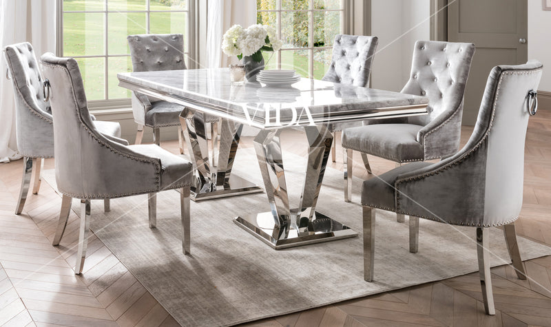 low priced 0999e 7846c Arturo Grey Marble & Chrome 200cm Dining Table Only