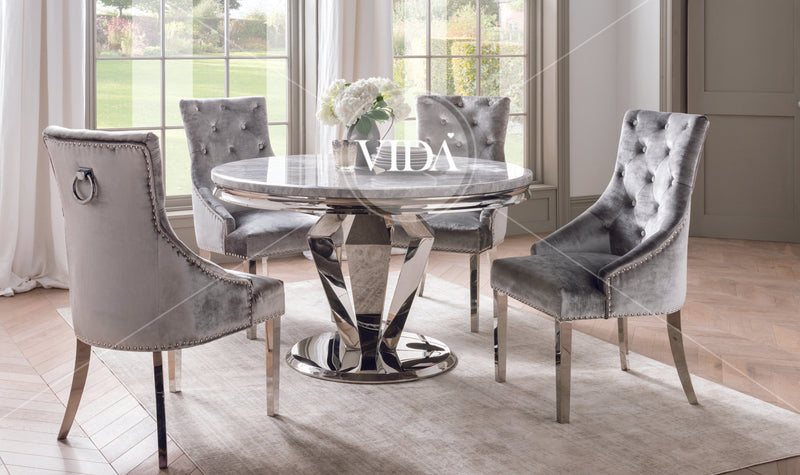 Arturo Grey Marble Chrome Round 130cm Dining Table Only