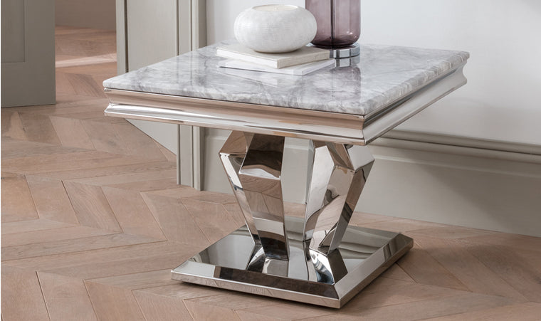 Arturo Grey Marble & Chrome Lamp Table