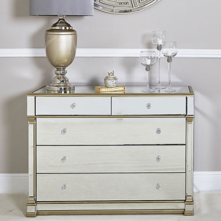 Polo Gold Mirrored 5 Drawer Chest